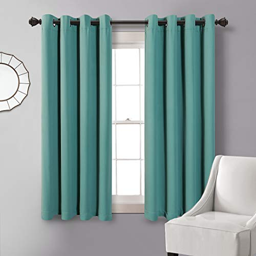 MYSKY HOME Blackout Curtains 63 Length,Grommet Thermal Insulated Room Darkening Window Curtain for Bedroom,Living Room,Dark Teal,52x63 Inch,1 Panel