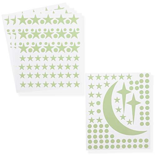 Heldere creaties gloeien in de donkere sterren en maan muur Stickers - 319 stuks, 4 vellen