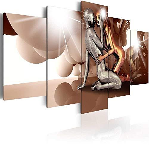 MengJing Painting Rahmen 5 Leinwand Malerei Wand Kunst Bilder Wohnzimmer Hause Dekoration 150 * 100 cm Einfaches braunes sexy Paar, das umarmt 5 Stück Leinwand Gedruckt Ölgemälde Wand Kunst Bild Post