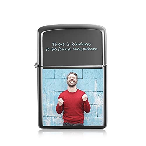Personalisiertes Foto und Text Elektrisches USB-Feuerzeug Wiederaufladbare Zippo-Feuerzeuge für Feuerzigaretten Flammenloses winddichtes Geschenk für Vater-Ehemann-Liebhaber-Freund