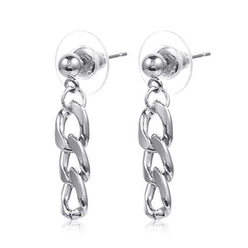 Pendientes colgantes de metal para mujer, con diseño de simplicidad, cadena de oreja