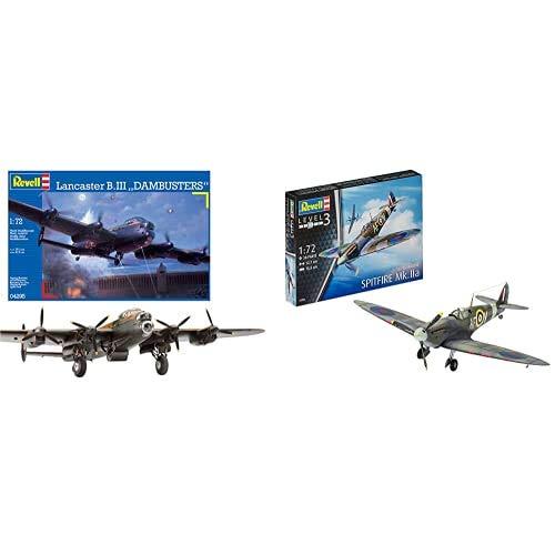 Revell Avro Lancaster B.III DAMBUSTERS, Kit de Modelo, Escala 1:72 (4295) (04295) + Maqueta de avión 1: 72–Spitfire MK.IIA en Escala 1: 72, Nivel 3, réplica exacta con Muchos Detalles, 03953