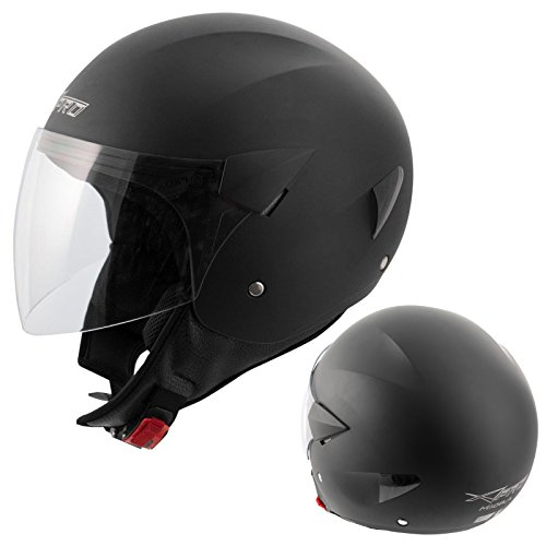 A-pro Open Face Jet Casco de Moto Moto Moto Scooter Antiscratch Visor Matt Black XL