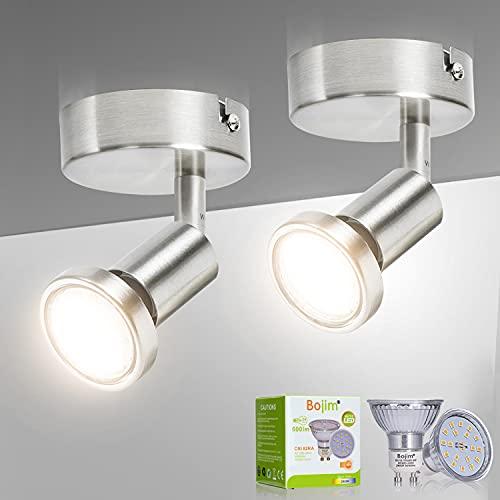 Bojim 2 Pcs Focos LED Interior Techo, Aplique de Pared Giratorios y Orientables, Lámpara de Pared para la Cocina, el Dormitorio y el Salón, Incl. 2 Bombillas LED GU10 (6W, 600lm, 2800K Blanco Cálido)