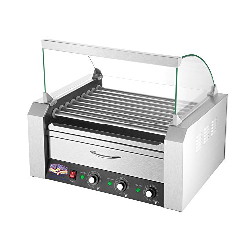 5200 Great Northern 9 Roller Grilling Machine | Bun Warmer | Cover | 24 Hot Dogs