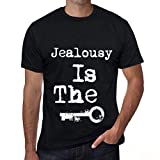 Hombre Camiseta Vintage T-Shirt Jealousy is The Key Negro Profundo Texto Blanco