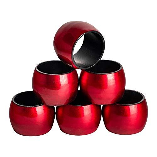Argon Tableware Serviettenringe aus Rot - 6er Packung