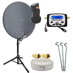 PremiumX 60 cm Camping Sat system i antracit med singel LNB + sat-finder + stativ + 10 meter koaxialkabel