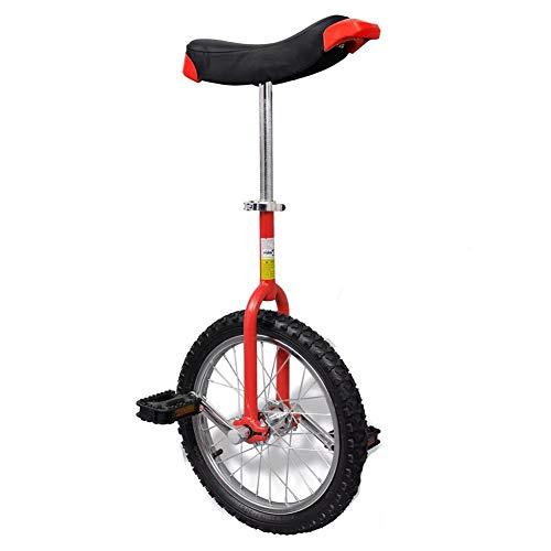 lyrlody Einrad, 16 Zoll Rot Erwachsenentrainer Einrad Heimtrainer Fahrrad Reifen Unicycle Fahrrad mit Schnellspanner, Höhenverstellung: 70-84 cm