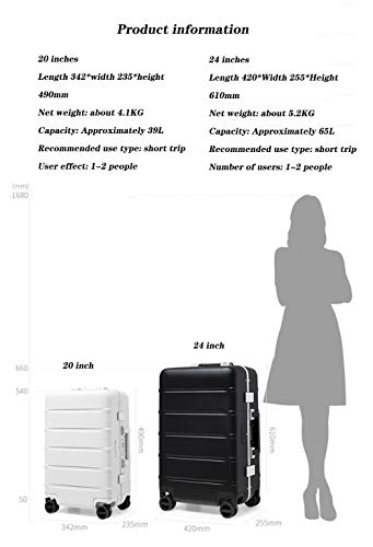 Bewinch Hard Shell Suitcase,Hold Luggage Suitcas,24 Inch, Carry on Hand Cabin Luggage Travel Trolley Lightweight Durable 4 Spinner Wheels,Black