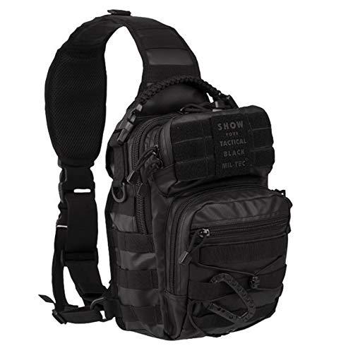 MILTEC USA Shoulder Combat Bag | Tactical Combat Small Backpack Black One Strap Assault Small