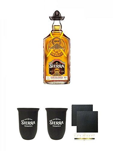 Sierra SPICED mit Orangen und Zimt 0,7 Liter + Sierra Tequila Tonbecher 0,4 Liter + Sierra Tequila Tonbecher 0,4 Liter + Schiefer Glasuntersetzer eckig ca. 9,5 cm Ø 2 Stück