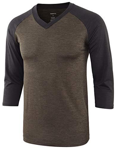 Vetemin Men's Lightweight Quick Dry 3/4 Sleeve V Neck Running Baseball T Shirts Military/Black Carbon XXL