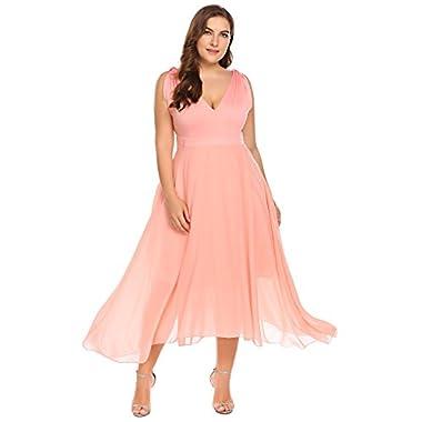 Zeagoo Womens Plus Size Bridesmaid Dress Sleeveless V Neck Cocktail Gown Dress Elegant Party Midi Dress,Rose2,18 Plus