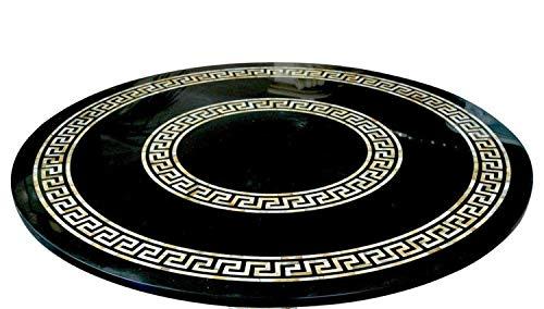 Mesa redonda de mármol negro con mesa de restaurante de aspecto decente para hotel y bar de 60 pulgadas