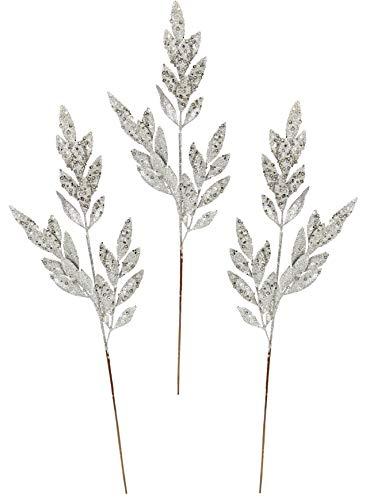 Flair Ramo di Natale Artificiale con Glitter e Pietre Decorative, Ramo Decorativo per composizioni Natalizie, Corona dell'avvento Decorativa, Fiore Singolo