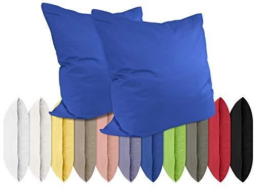 Renforcé-Kissenbezüge im Doppelpack - 100% Baumwolle – schlicht und edel im Design, in 11 Uni-Farben, 2 Stuck x (40 x 40 cm)