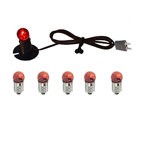 Alfred Kolbe Krippen AM 36 Weihnachtskrippen-Zubehör-Set Kabel mit Birne, 5 rote Ersatzbirnen 4,5 V und einen Halter für E 10