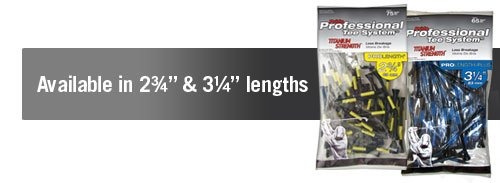 PRIDE PROFESSIONAL TEE SYSTEM. TITANIUM STRENGTH PROLENGTH PLUS GOLF TEES. 65 PACK. 83MM.
