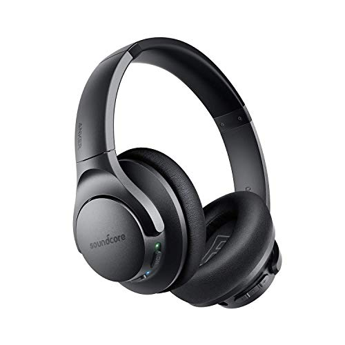 Soundcore Life Q20 Bluetooth Kopfhörer, Aktive Geräuschunterdrückung, 30 Stunden Wiedergabezeit, Hi-Res Audio, Intensiver Bass, kabellose Over-Ear Kopfhörer für Reisen, Arbeit (Generalüberholt)