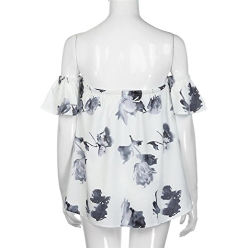 Women Tops, Neartime Women Off Shoulder Tops Floral Printed Short Sleeve T Shirt (L, White)