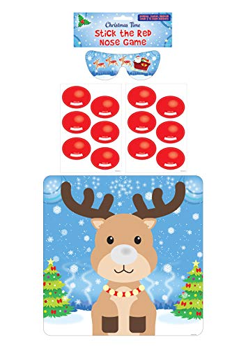 HENBRANDT Stick the Red Nose on the Reindeer 14pcs Christmas Party Game Rudolph Xmas Family Festive Games Christmas Stocking Filler Party Fillers