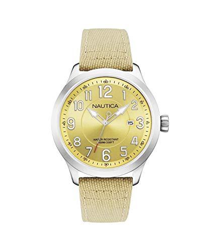 Nautica NAI10500G - Reloj para Hombre, Cuarzo, analógico, Esfera Plateada, Pulsera de Nailon Bronce