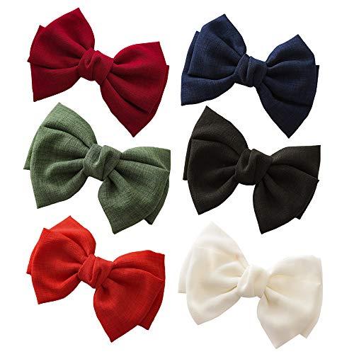 Gobesty Große Haarschleifen Clip, 6 Stück Haarklammern mit Schleifen Haarspangen Zubehör Bowknot Haarspangen Große Haarschmuck Schleife für Damen Lady Kinder