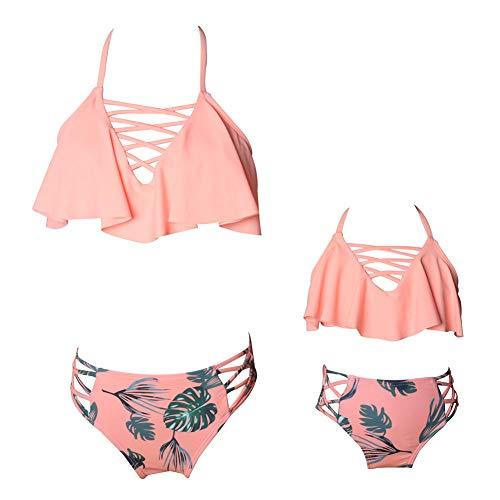 Haodasi Mutter-Tochter-Bikini-Set - Zwei Stücke Familie passendes Outfit Hawaii Sommer Beach Wear Floral Stil Bademode