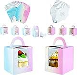 Cajas para cupcakes con ventana individual para tartas, con asa, caja de regalo pequeña para pasteles, para decoración de bodas, cumpleaños, fiestas, paquete de 20