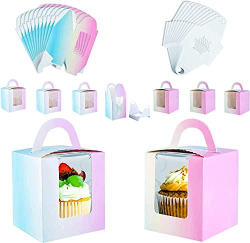 Pajaver 20 Pezzi Scatola per Cupcake Singole Scatole per Torta con Finestra Trasparente e Maniglia Porta Cupcake Confezione Regalo di Caramelle per Muffin
