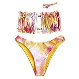 ZAFUL - Bikini da donna, senza spalline, con coulisse e ruche Tie-dye 1. S