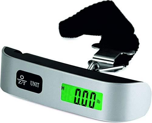 Báscula digital para equipaje | LCD iluminada, báscula de mano, báscula colgante con sensor de temperatura y tarea, para viajes, vacaciones, color negro y plateado, 50 kg, portátil