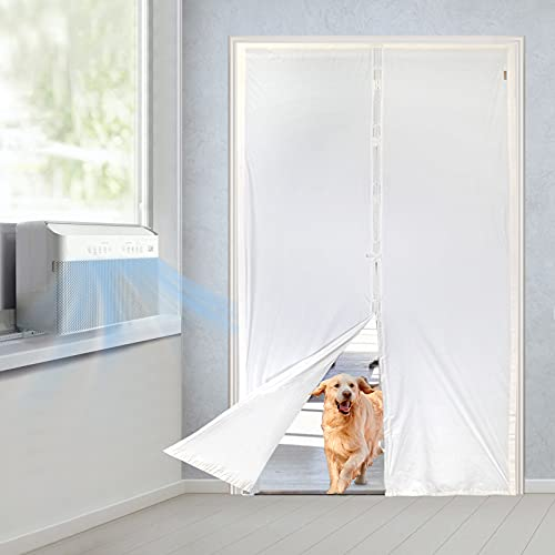 MAGZO Upgrade TPU Magnetic Screen Door Thermal 72x80, French Door Net for AC Heater Room Kitchen Enjoy Cool Summer Warm Winter Privacy Fit Your Door Size Up to 72x80 Inch, White