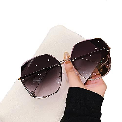 SHENGYANG, Gafas de Sol, Gafas de Sol, Marco Semi-inútil, para Viajes al Aire Libre y conducción, 100% UV bloqueando 【2】-Black and Gray