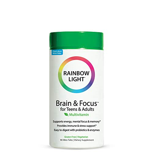 Rainbow Light - Brain & Focus Multivitamin for Teens & Adults - Food-based Nutrition, Supports Brain Health, Energy, Immune System, and Digestion - 90 Mini-Tablets
