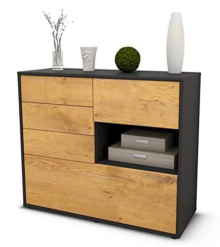 Stil.Zeit Sideboard Coco/Korpus anthrazit matt/Front Holz-Design Eiche (92x79x35cm) Push-to-Open Technik & Leichtlaufschienen