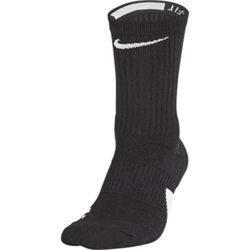 Nike U NK Elite Crew Socks, Black/White, L