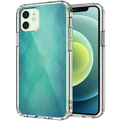 """Coque transparente pour iPhone 12 6,1"""" 2020, style rétro Grunge, motif abstrait vintage, couleurs apaisantes, pour homme et femme, bleu turquoise"""