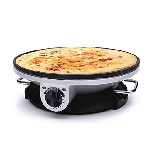 SXDY Elektrische crêpepan, anti-aanbaklaag, 12 inch (12 inch) pannenkoeken-temperatuurpan met instelbare temperatuur, automatische bediening, compact, gemakkelijk te reinigen voor blinds, eieren, pannenkoeken, tortilla