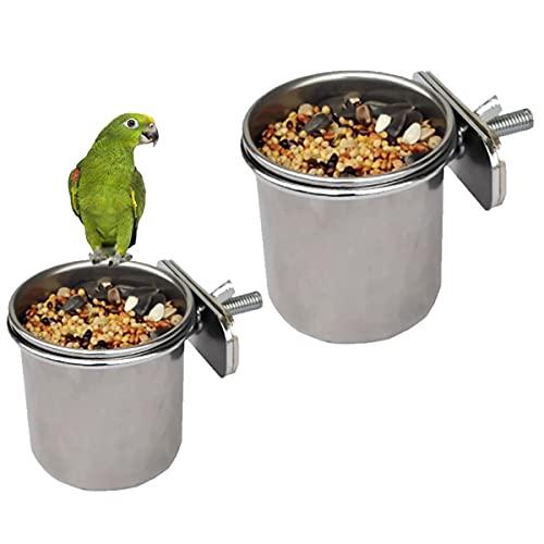 Platos de Alimentación de Pájaros,2 Piezas Comedero Jaula de Pájaros,Cuenco de Comida para Pájaros para Alimentador de Platos de Comida de Agua para Loros de Aves(4,4cm 5,5cm)
