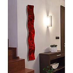 Statements2000 Red 3D Abstract Metal Wall Art Sculpture Wave - Modern Home Décor by Jon Allen - 46.5 x 6