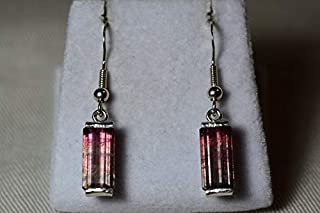 Watermelon Tourmaline Earrings, 7.16 Carat Bicolor Tourmaline Wire Dangle Sterling Silver, Certified Natural Real Genuine October Birthstone