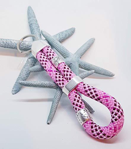 Schlüsselanhänger Segelseil - Kletterseil, Schlüsselband, maritim segelseil, handmade, Taschenbaumler, rosa, Perlenauswahl aus 2 Perlen
