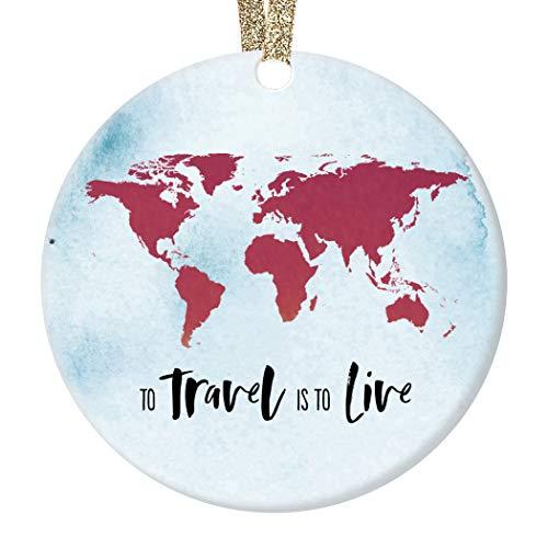 "Seasonal Ceramic Ornament Traveler Holiday Memento Keepsake Gift Wanderlust See the World New Adventures Places to Go Tree Decoration Christmas Present 3"" Flat Porcelain Gold Ribbon & Free Box"