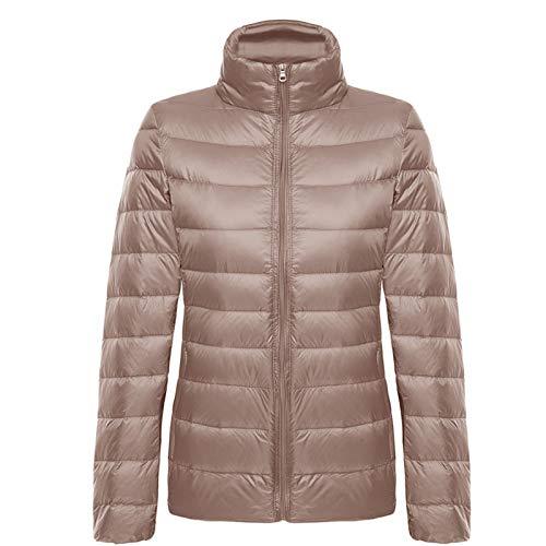 Damen Short Sport Daunenjacke, Licht und Portable mit Aufbewahrungstasche, Wind- und Warmer Jacke, Winterlicht Mantel, für Outdoor-Sport, brown-4XL