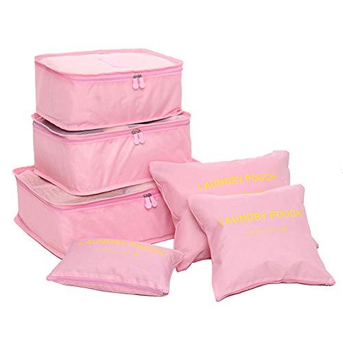 FunYoung Sacchetto di vestiti set 6 pezzi borsa da viaggio in caso sacchetto della lavanderia sacchetto del pattino di stoccaggio cosmetici scelta del colore bag (Rosa)