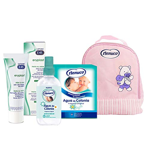 Nenuco Pack Regalo Bebé Mochila de Paseo Rosa con Colonia Nenuco de Cristal + Colonia Spray 240ml + Crema Pañal Eryplast 200ml…