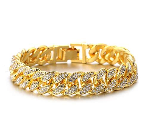 HALUKAKAH Diamante Cadena Cubano de Oro para Hombre,13MM Chapado en Oro Real de 18k Pulsera 18cm,Cz...