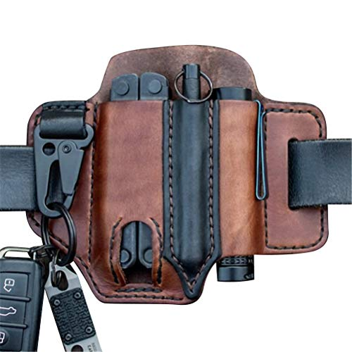 Fliyy Multitool Leather Sheath, EDC Leather Pocket Organizer Belt Loop Waist Sheath with Key Holder for Pocket Knife Tactical Pen Flashlight Tools,Brown